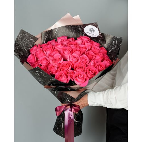 Купить на заказ Букет из 51 розовых роз с доставкой в Капчагае