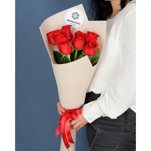 Купить на заказ Букет из 7 роз с доставкой в Капчагае