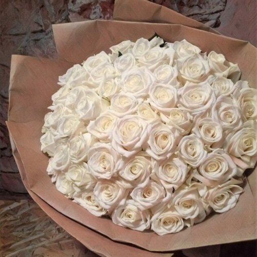 Купить на заказ Букет из 101 белой розы с доставкой в Капчагае